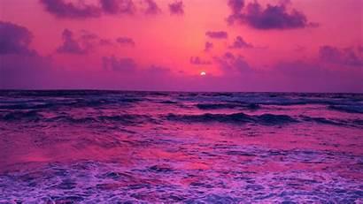 Sunset Sea Pink Water Ocean Wallpapers Purple