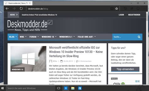 Dunkles Theme Für Microsoft Edge In Windows 10 Build 10134