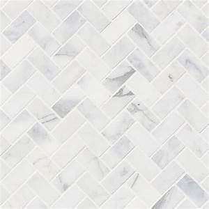 MSI Calacatta Cressa Herringbone Honed Marble Mosaic Tile