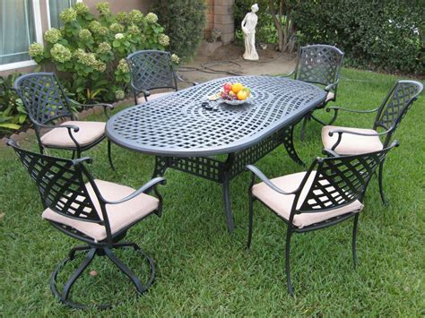 Metal Patio Furniture Sets by Outdoor Cast Aluminum Patio Furniture 7 Dining Set