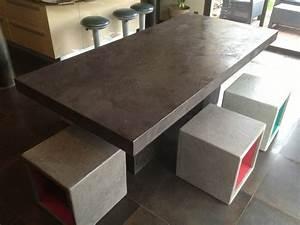 Table En Béton Ciré : table basse exterieur beton ~ Premium-room.com Idées de Décoration