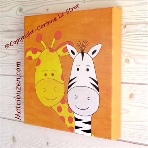 chambre bébé la girafe tableau chambre enfant animaux jungle savane girafe et