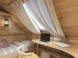 Schreibtisch Im Schlafzimmer : bett und schreibtisch im kinderzimmer in einem blockhaus im dachboden stock abbildung ~ Sanjose-hotels-ca.com Haus und Dekorationen