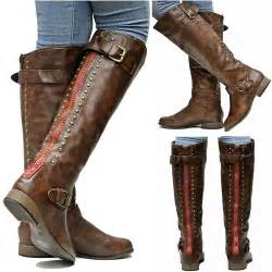 womens brown boots nz womens fl42 brown zipper studded knee high boots sz 5 5 to 10 ebay
