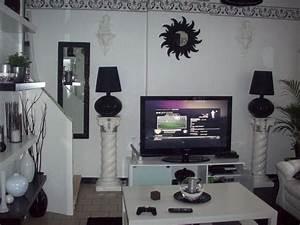 deco salon noir blanc violet With idee deco salon violet
