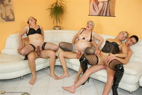 Orgy Moms In stockings And Lingerie Getting Drilled And Creamed