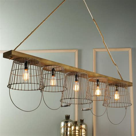 Unique Kitchen Chandeliers by Rustic Wire Basket And Wood Chandelier To Market To