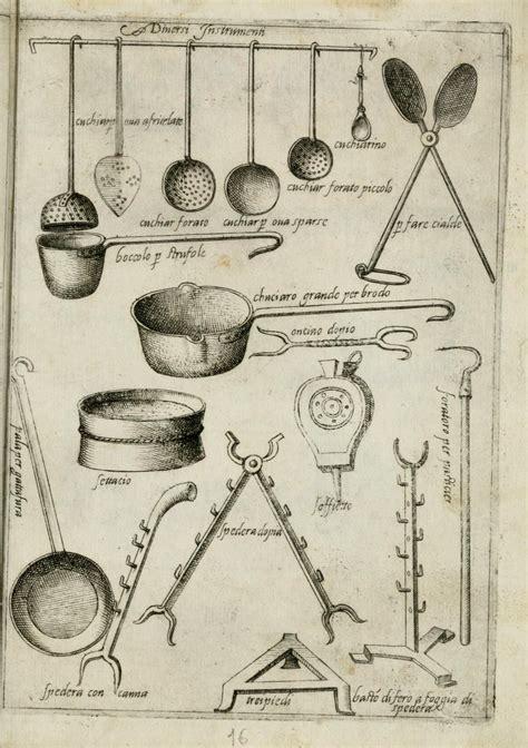 ustensiles de cuisine anciens barres d accrochage ou râtelier dans la cuisine de scappi