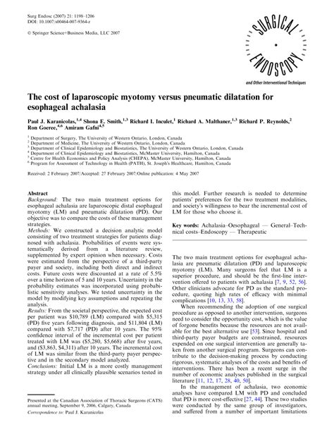 (PDF) The cost of laparoscopic myotomy versus pneumatic
