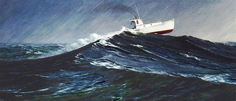 Lobster Boat In Rough Seas by Quot Storm On Sequin Passage Alkyd Another Of The Lobster