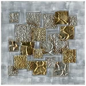 Tableau En Relief : tableau 70x70 argent et or peinture acrylique mati re ~ Melissatoandfro.com Idées de Décoration