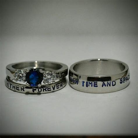 doctor who inspired 3 piece wedding sted stainless steel and cz sapphire sci fi