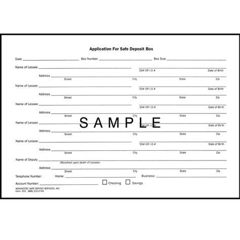 safe deposit box access forms safe deposit forms advancetec