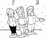 Carolers Christmas Caroling Coloring Pages sketch template