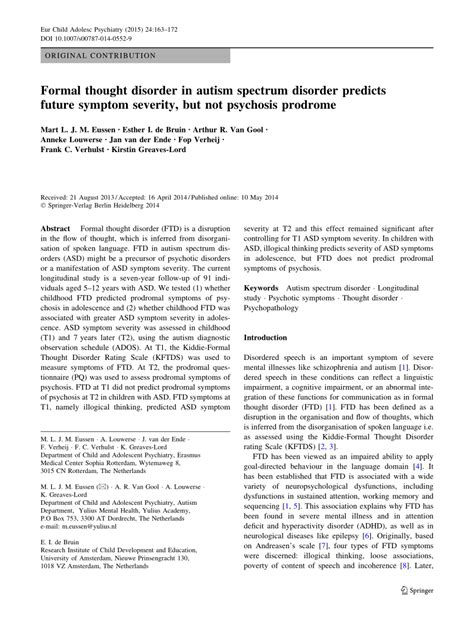 formal thought disorder  autism spectrum disorder