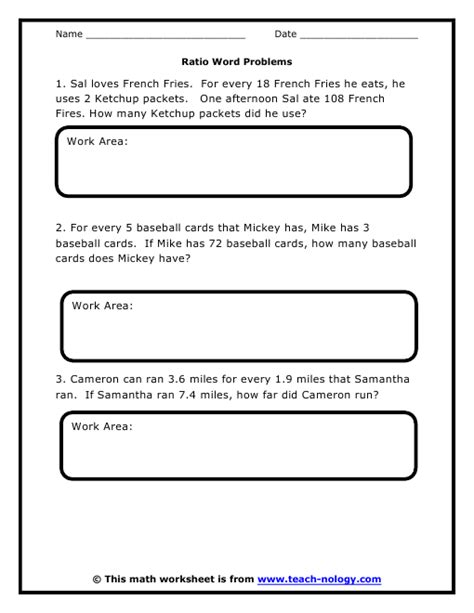 printable math word problems worksheets for 6th grade ratio word problems