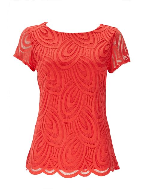 coral blouses and tops wallis coral lace top in coral lyst