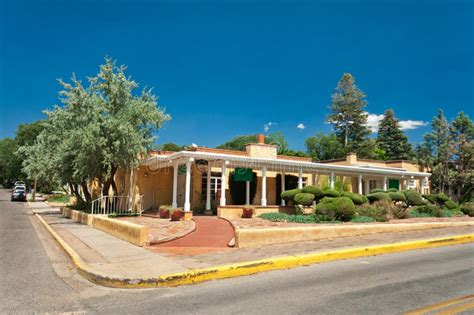 adobe spanish colonial house porch santa fe nm stock image image  adobe landscaped