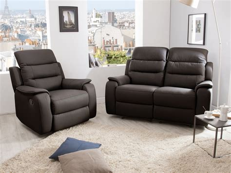 canap relax cuir 2 places ensemble canapé 2 relax manuel 2 places fauteuil relax