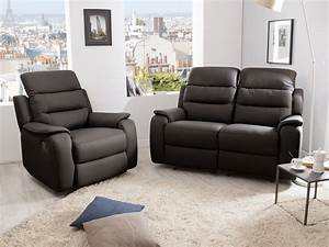 ensemble canape 2 relax manuel 2 places fauteuil relax With canape plus fauteuil cuir