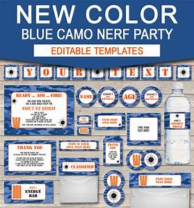 Free Editable Christmas Party Invitations Nerf Printables Blue Camo Editable Birthday Party