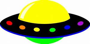 Neon Colorful Alien UFO - Free Clip Art