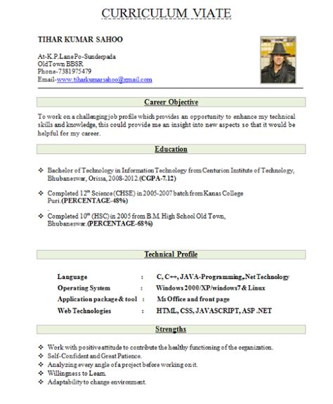 Resume Models For Freshers Cse by Best Resume Format For Freshers