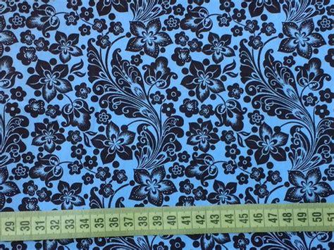 TC536 Tecido Floral Lia azul com marrom no Elo7   Pannobom ...