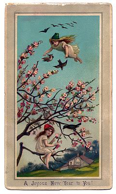 victorian  year graphic fairy girls  cherry