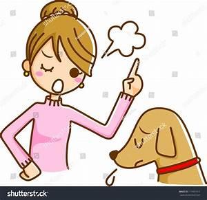Women Scold Dog Stock Illustration 111401414 - Shutterstock
