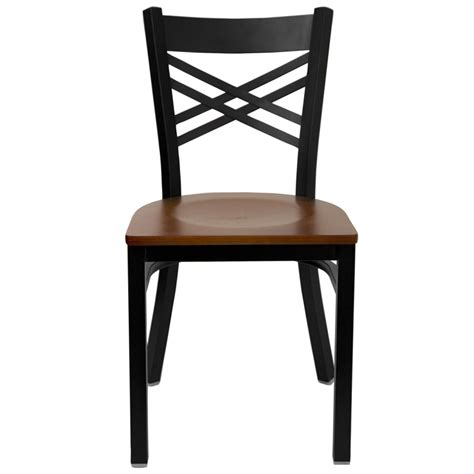 hercules black quot x quot back metal restaurant chair with cherry