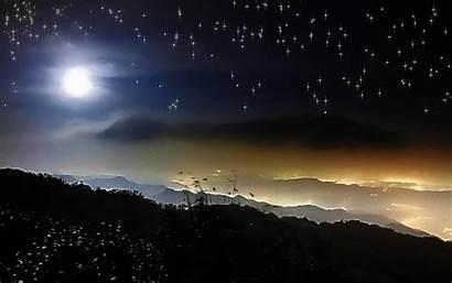 Sky Starry Night Moon Desktop Background Wallpapers