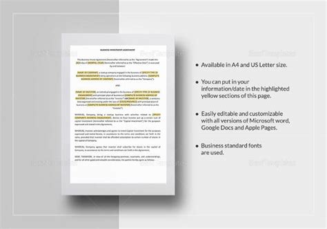 sample business investment agreement templates