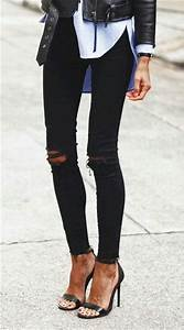 Skinny jeans Ripped jeans for women and Heels on Pinterest