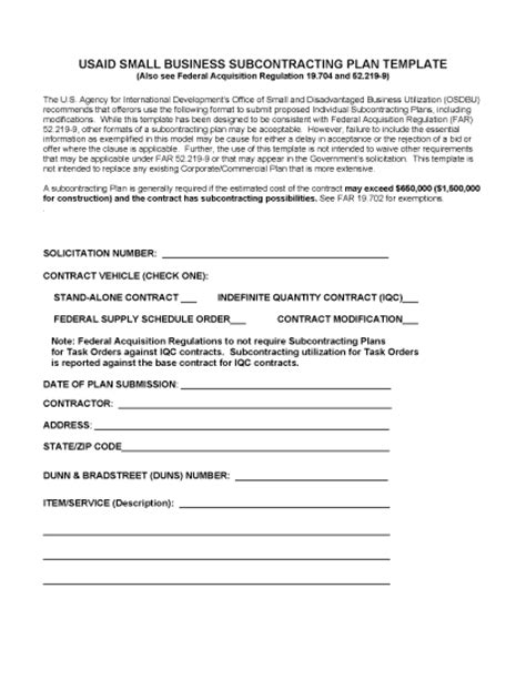 Subcontracting Contract Template by Subcontracting Plan Template Dec 2016 Small Business