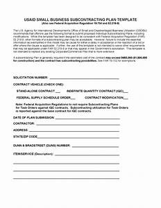 subcontracting program small business us agency for With small business participation plan template