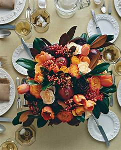Thanksgiving, Centerpiece, With, Pomegranates, Tulips, And, Roses