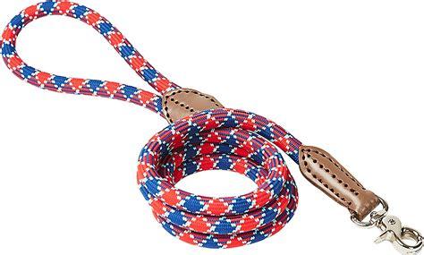 HARRY BARKER Plaid Rope Dog Leash, Red & Blue, 5-ft ...