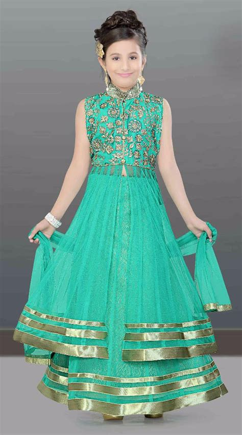 trendy turquoise kids girl indowestern style dtk