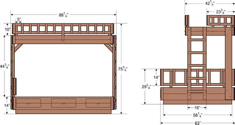 Bunk Bed Dimensions by Wooden Bunk Beds Forever Redwood