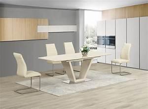 Ga loriga cream gloss glass designer dining table for Cream coffee table set