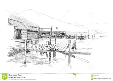 Village Boat Drawing by Landscape With Old Fishing Village Stock Illustration