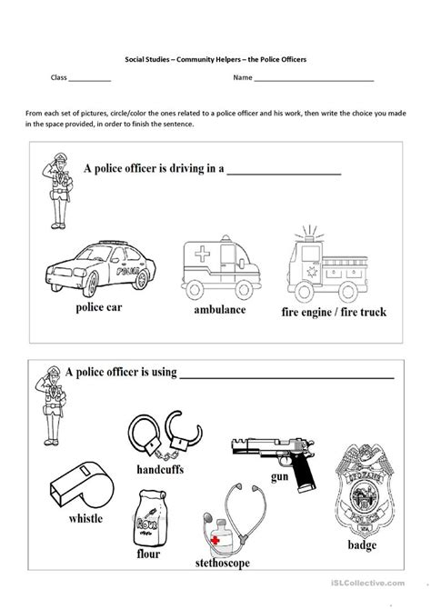 Community Helpers  The Police Officer Worksheet  Free Esl Printable Worksheets Made By Teachers