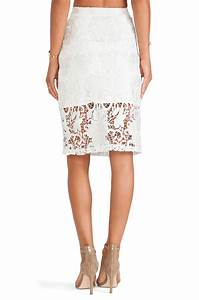 Lyst - Alexis Larissa Lace Pencil Skirt in White