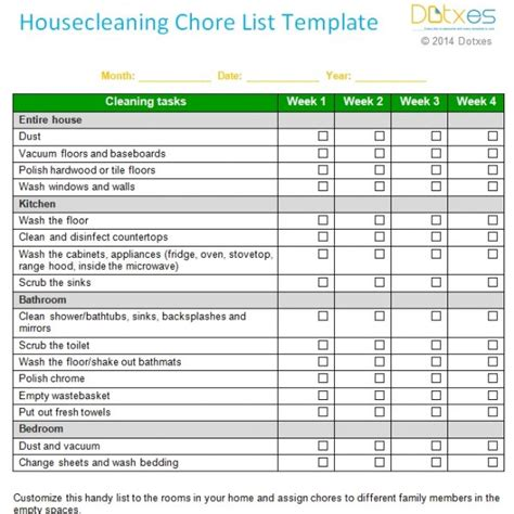 House Chores Checklist Template by House Cleaning Chore List Template Weekly Dotxes