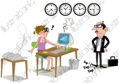 secr 233 taire en retard et pdg impatient illustration devant un ordinateur libre de droit sur