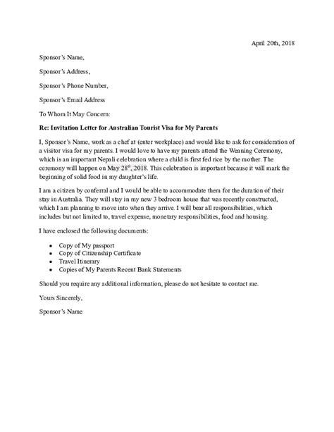 invitation letter  australian tourist visa