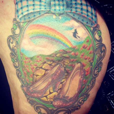 amazing wizard  oz thigh piece tattoo artwork  ashley