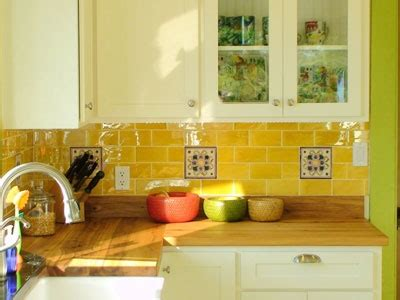 yellow kitchen backsplash white cabinets end one with glass panes yellow 1212