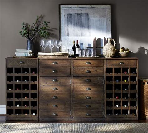 pottery barn wine cabinet wallace reclaimed wood buffet with 2 wine bases and 2